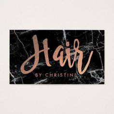 #hairstylist #businesscards - #hair rose gold script on black marble business card