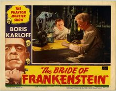 A lobby card for the 1953 re-release of The Bride of Frankenstein (1935)
