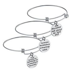 Birthday Gifts for Women Girls - 3PCS Stainless Steel Inspirational Charm Bracelets Jewelry Set Motivational Expendable Bangles Anniversary Gift Ideas PACK OF 3PCS BRACELETS: Sold in set of 3 pieces gift bangles with different inspirational words. STAINLESS STEEL ONLY: All parts of the 3 bangles and charms are 100% stainless steel; No Rust; Not Allergy; Do not Fade; No deformation. FIRM IN CHARMS: Bracelets charms won't fall off; Strict welding technology is used to ensure th