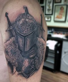Top 80 Best Knight Tattoo Designs For Men – Brave Ideas Upper Arm Medieval Knights Tattoos For Men Hand Tattoos, Tattoos Arm Mann, Forarm Tattoos, Body Art Tattoos, Sleeve Tattoos, Tatoos, Medieval Tattoo, Gear Tattoo, Thigh Tattoo Men