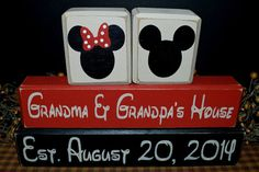 Mickey & Minnie Mouse Grandma and Grandpa House established anniversary newborn shower birthday gift rustic distressed primitive by PrimitiveHodgePodge