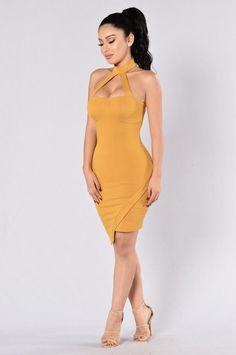 Call Me Beep Me Dress - Mustard