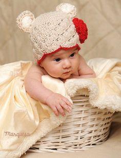 Baby Bear Hat   Infant Baby Girl Beanie Teddy by MarquesaAtelier, $20.00
