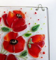 Poppy Picture in Fused Glass Art Glass Picture by CDChilds on Etsy