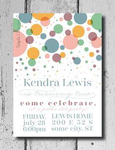 Polka Dot Party  Birthday Invitation