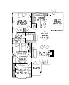 Great Flow Through the Great Room (HWBDO75752) | Cottage House Plan from BuilderHousePlans.com