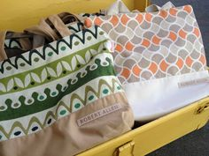 Our fun giveaways in the VIP tent: custom bags with @DwellStudio  Modern Bungalow collection fabrics (made with 100% @Sunbrella yarns!) #Brimfield
