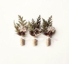 Wedding Boutonniere, Groomsmen Button Hole, Woodland Rustic Boutonniere, Natural Keepsake, Winter Weddings - FROST