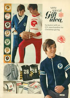 CFL Christmas gifts from Simpsons-Sears, 1973 Cowboys Football, Football Stuff, Canadian Football League, Retro Ads, Old Ads, 70s Fashion, Calgary, Elves, Childhood Memories