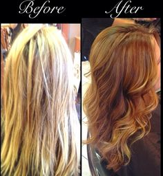 From blonde to light red brown and some ombré pieces hair by Lisa Frallicciardi