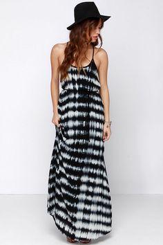 black and white tie-dye maxi dress