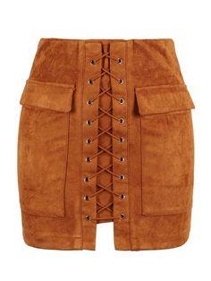 11048ea23d Brown Faux Suede Lace-Up Front Short Pencil Skirt #skirt #pencilskirt  #brownskirt. Luulla