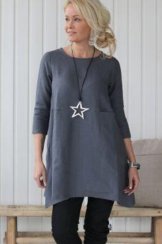 TIMELESS Linen Tunic 2, Grafit - BYPIAS Linen Dresses, Tunics - BYPIAS