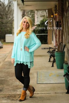 Look how cute our cherish tops look with some of our new laced bottom tanks! We just cannot get enough of it! Call 601-591-4111 to order! We are open until 6pm!