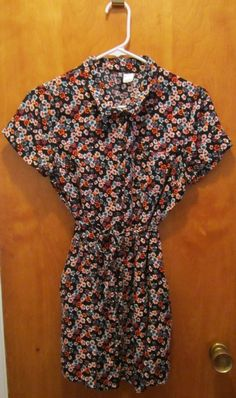 Divided By H&M Juniors Tween Girls Size 10 Shirt Mini Dress Button Up Floral #HM #Everyday