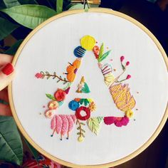 This unique Embroidery Flowers is the most inspirational and perfect idea Hand Embroidery Projects, Embroidery Alphabet, Embroidery On Clothes, Embroidery Works, Hand Embroidery Patterns, Vintage Embroidery, Embroidery Applique, Cross Stitch Embroidery, Embroidery Monogram
