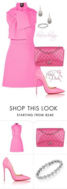 A fashion look from October 2015 featuring pink dress, pink shoes and chanel handbags. Browse and shop related looks. Pink Fashion, Runway Fashion, Fashion Tips, Jw Mode, One Direction Shirts, Cut Up Shirts, Christian Louboutin, Matching Couple Shirts, Party Shirts