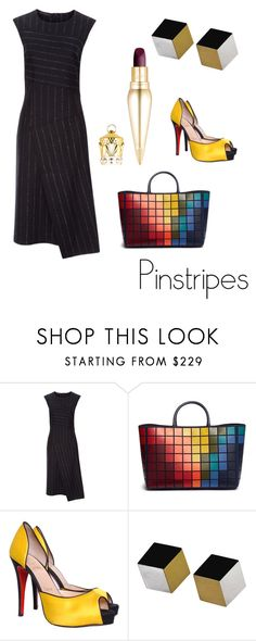 """""""Art Smart"""" by franzipantz ❤ liked on Polyvore featuring Cédric Charlier, Anya Hindmarch, Christian Louboutin, Angela Cummings, WorkWear, colorful, Louboutin, pinstripes and cube"""