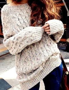 Cable knit sweater.