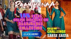 50% + Extra 15% online discount on Raanjhanna Sonam Kapoor Suits at shoppers99.com
