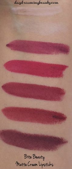 Bite Beauty Matte Creme Lipsticks LE Frozen Berries & Opal Creme Lipstick and Opal Creme Lip Gloss - swatches and details. Lipstick Swatches, Makeup Swatches, Lipsticks, Bite Beauty, Hair Beauty, Berry Lipstick, Beauty Essentials, Beauty Hacks, Crayon Set