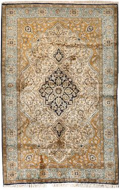 Qum silk rug  Central Persia  2nd quarter 20th century  size approximately 3ft. 5in. x 5ft. 4in.