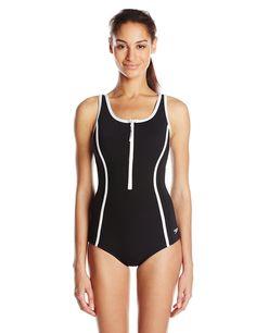 Speedo Women's Front Zip One Piece Fitness Swimsuit, Black, 12