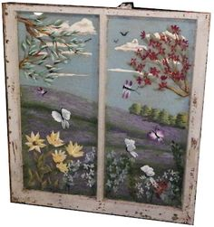 Crafting: Homemade Handmade Repurposed: How to Paint Window Glass or place a cross stich in a window fram Painted Window Panes, Old Window Frames, Window Art, Window Glass, Window Ideas, Painted Screens, Broken Glass Art, Sea Glass Art, Stained Glass Art