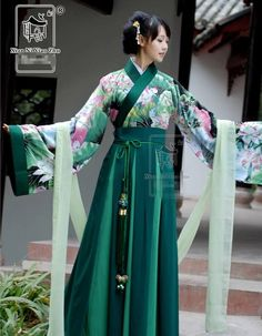 China Kimono Lotus Green Dancing Dress Custom-Made HanFu Traditional Fashion, Traditional Dresses, Chinese Dress Traditional, Hanfu, Cheongsam, Yukata, Ao Dai, Historical Clothing, Models