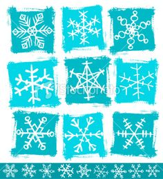 Hand-drawn Snowflake collection Royalty Free Stock Vector Art Illustration