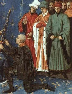 Men at a ceremony; note that the pleats run from the waist to the shoulders, not toward the neck 15th Century Fashion, 15th Century Clothing, Medieval Life, Medieval Armor, Historical Women, Historical Clothing, Historical Photos, Maleficent Cosplay, Medieval Paintings