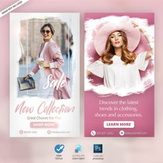Fashion instagram stories ads banners Pr... | Free Psd #Freepik #freepsd #freebanner #freewinter #freesummer #freetemplate Moda Instagram, Social Media Banner, Social Media Template, Social Media Design, Instagram Story Template, Instagram Story Ideas, Web Banner Design, Web Banners, Design Web
