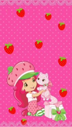Strawberry Shortcake by Vintage Desktop Wallpapers, Cool Wallpapers For Phones, Free Iphone Wallpaper, Cute Wallpapers, Wallpaper Backgrounds, Strawberry Shortcake Pictures, Strawberry Shortcake Doll, Wallpaper Fofos, Homemade Stickers