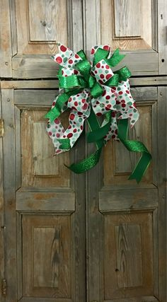 The Ophelia Green And White Christmas Tree Topper Bow/ Wreath Bow
