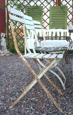 rusty Frenchy garden chairs~available in green and white at American Home & Garden in Ventura CA