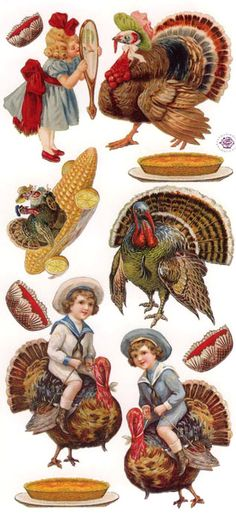 Victorian Thanksgiving image stickers for placecards, treat bags, card making - made in the USA