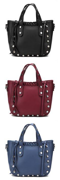 Rivet and Tassel Embellished Shoulder Bag