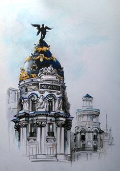 Drawing architecture sketches watercolour Ideas for 2019 Architecture Concept Drawings, Watercolor Architecture, Art And Architecture, Watercolor City, Watercolor Paintings, Copic Drawings, Art Drawings, City Sketch, Madrid