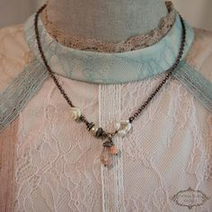 Vintage style Romantic Charm Necklace Shabby chic Necklace