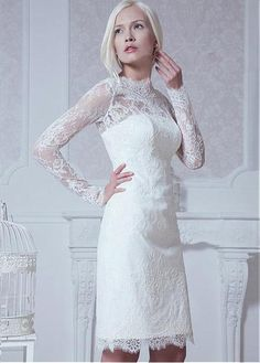 Glamorous Tulle High Collar Neckline Sheath Wedding Dress With Lace Appliques