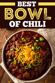 This is the best bowl of chili I've ever had, and I know you'll love it too! Packed with beef, beans, tomatoes, and a secret ingredient, you'll make this easy recipe again and again! Chili Recipes, Healthy Recipes, Meat Lovers Chili Recipe, Yummy Recipes, Soup Recipes, Venison Recipes, Family Recipes, Healthy Food, Kitchens