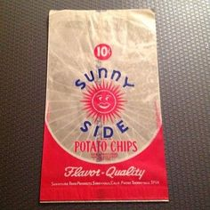 Vintage 1950s 10 Cent Sunny Side Potato Chips Wax Paper Bag