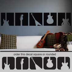Guitar Rock N Roll Panels Squares Wall Decal Sticker | eBay