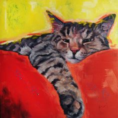 "Tabby Kitty Buck is just lounging around as he represents the CUSTOM 8x8"" size Pet Portrait Oil Painting by puci, $167"