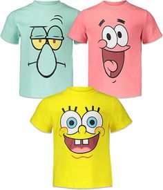Amazon.com: Nickelodeon Spongebob Toddler Boys 3 Pack T-Shirts 4T: Clothing 100 Day Of School Project, 100 Days Of School, School Projects, School Ideas, Spongebob Shirt, Nickelodeon Spongebob, Boy Baby Shower Themes, Baby Shower Favors, 18th Birthday Party