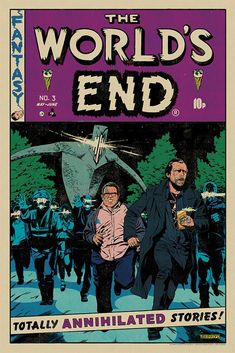 """Mondo Posters Reimagine Edgar Wright's """"Cornetto Trilogy"""" Films in the Style of EC Comics Artwork Ec Comics, Horror Comics, Creepy Comics, Horror Posters, The World's End Movie, Simon Pegg, Comic Book Style, Pop Culture Art, Best Kids Toys"""