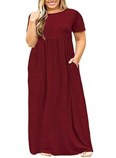 00291708667 Shele Womens Plus Size Dresses Short Sleeve Loose Plain Pockets Long Maxi T-Shirt  Dress