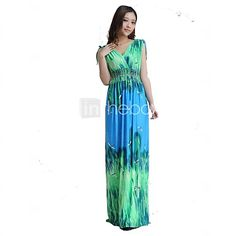 Women's Maxi Bohemian Plus Size Ice Silk Dress  - USD $27.99