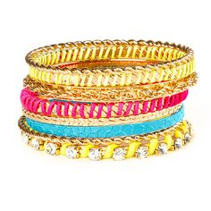 Gold, Neon Cord and Crystal Bangle Bracelets Set of 8