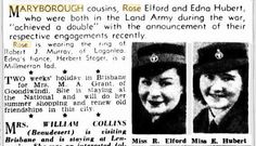 1946 Maryborough cousins Rose Elford and Edna Hubert have announced their engagements. Rose to Robert J Munro and Edna to Herbert Steger. Engagements, Cousins, Brisbane, Rose, Roses, Engagement